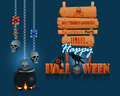 Happy Halloween, Background With A Magic Cauldron And Wooden Sign Stock Photos - 61271423