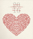 Merry Christmas Happy New Year 2016 Heart Outline Stock Image - 61278781