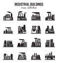 Set Of Industrial Manufactory Buildings Icons Set Royalty Free Stock Photo - 61285595