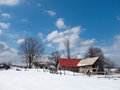 Sunny, Winter Day With Snow And Mountain Cottages Royalty Free Stock Image - 61289436