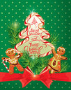 Holiday Greeting Card With Xmas Gingerbread  Royalty Free Stock Image - 61290066
