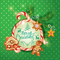 New Year Holiday Greeting Card With Xmas Gingerbread Royalty Free Stock Photos - 61290078