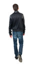 Back View Of Going  Handsome Man In Jacket.  Walking Young Guy Stock Photo - 61294430