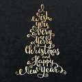 Merry Christmas Happy New Year Lettering Stock Photo - 61295930