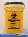 Bio Hazard Labled Yellow Specialist Collection Container Royalty Free Stock Image - 61298676