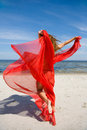 Beautiful Girl With Red Shawl Stock Image - 6132421