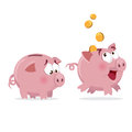 Happy And Sad Piggy Bank Stock Photography - 61300952