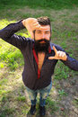 Top View Of Man With Beard Royalty Free Stock Photography - 61304057
