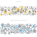 Flat Line Design Concepts For Creative Process Workflow And SEO Stock Image - 61310731