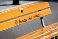 Graffiti On Bench Royalty Free Stock Images - 61316289