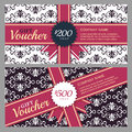 Vector Gift Voucher With Black And White Ornament Background And Royalty Free Stock Images - 61317499