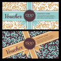 Vector Gift Voucher With Vintage Ornament Background And Ribbon. Royalty Free Stock Photo - 61319335