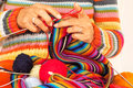 Woman Knitting A Colorful Scarf Stock Image - 61320471