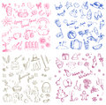 Spring Summer Autumn And Winter Holiday Season Doodle Icon Royalty Free Stock Images - 61327429