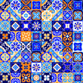 Mexican Stylized Talavera Tiles Seamless Pattern In Blue Orange And White, Vector Royalty Free Stock Images - 61332919