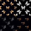 Four Seamless Pattern With Golden Butterflies Royalty Free Stock Image - 61333416
