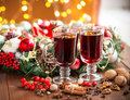 Christmas Hot Mulled Wine With Spices On A Wooden Table. Royalty Free Stock Images - 61333489