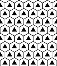 Vector Modern Seamless Sacred Geometry Pattern Hexagon Triangles, Black And White Abstract Royalty Free Stock Photo - 61336915