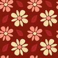 Cute Lovely Abstract Daisy Flowers On Red Background Seamless Pattern Illustration Stock Photo - 61339430