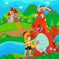 Knight And Dragon By The River Stock Photography - 61344552