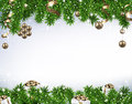 Christmas Banner With Spruce Branches Royalty Free Stock Photography - 61345987