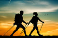 Nordic Walking At Sunset Royalty Free Stock Photography - 61346837