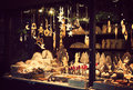 Christmas Fair Kiosk With Lovely Handcrafted Wooden Xmas Decorations Stock Images - 61347394