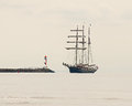 In The Fog Three Masted In To A Pier Stock Photography - 61360162