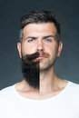 Man With Face Half Shaved Stock Image - 61360171