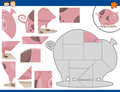 Cartoon Pig Jigsaw Puzzle Task Royalty Free Stock Images - 61368329