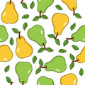 Green And Yellow Pears Seamless Pattern Royalty Free Stock Photo - 61370385