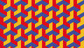 Seamless Bauhaus Red Blue And Yellow Op Art Trilateral Hexagonal Pattern Vector Royalty Free Stock Images - 61370499
