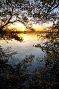 Sunset At The Lake, View From The Forest Edge With Reflections A Royalty Free Stock Images - 61376869