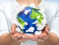 Our Planet In Our Hands. Open Hands Holding 3d Planet Earth With Royalty Free Stock Photo - 61395805