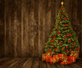 Christmas Tree Room Background, Wood Wall Floor Wooden Interior Royalty Free Stock Photos - 61397708
