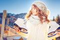 Beautiful Caucasian Woman Going To Ice Skating Outdoor Stock Image - 61398851