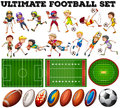 Football Theme With Players And Ball Stock Photography - 61399532