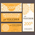 Gift Voucher Template With Mandala. Design Certificate For Sport Center, Magazine Or Etc. Vector Gift Coupon With Ornament On Back Royalty Free Stock Photo - 61408535