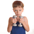 Boy Blue Shirt Doing Exercises With Dumbbells Over White Backgro Royalty Free Stock Photography - 61415517