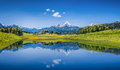Idyllic Summer Landscape With Clear Mountain Lake In The Alps Royalty Free Stock Photos - 61422408
