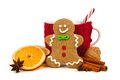Christmas Gingerbread Man With Mug And Holiday Spices Over White Royalty Free Stock Photos - 61429538