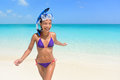 Beach Vacations - Asian Woman Swimming Having Fun Royalty Free Stock Photography - 61430017