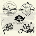 Vector Set Of Fishing Club Labels, Design Elements Stock Photography - 61442622