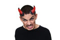 Young Evil Man With Horns On His Head Royalty Free Stock Images - 61444229