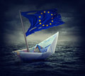 Sinking Euro Ship With A Torn Flag Royalty Free Stock Images - 61448769