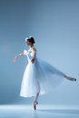 Portrait Of The Ballerina On Blue Background Stock Images - 61459394