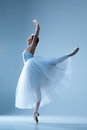 Portrait Of The Ballerina On Blue Background Stock Photo - 61460740