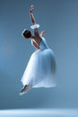 Portrait Of The Ballerina On Blue Background Stock Images - 61461544