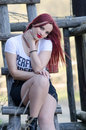 Cute Red Hair Lady Outside Royalty Free Stock Photos - 61462848