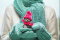 Female Hands Holding Cute Teddy Bear. Woman Hands In Teal Mittens Showing Teddy Bear Gift Dresses In Pink Knitted Hat And Scarf. Stock Photos - 61488053